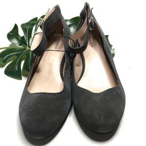 Torrid Grey Mary Jane Suede Block Heels